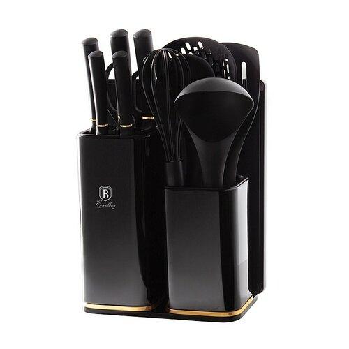 Berlinger Haus Sada nožov v stojane + kuchynské náčinie a doštička sada 12 ks Black Rose Collection