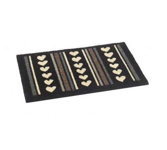 Vnútorná rohožka Srdiečka, 40 x 60 cm, biela + čierna, 40 x 60 cm