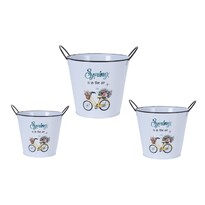Set recipiente ghiveci Flower bicycle, 3 buc.