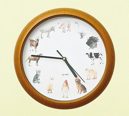 Hodiny se zvukem domácích zvířat, vícebarevná, pr. 33 cm
