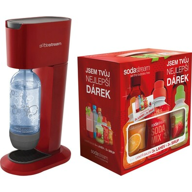 Výrobník sody GENESIS červený Sodastream + DÁREK s, červená