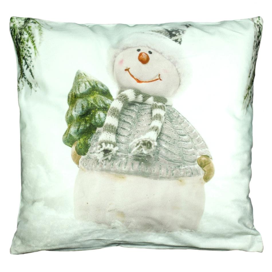 BO-MA Trading Povlak na polštářek Sněhulák s čepičkou bílá, 40 x 40 cm