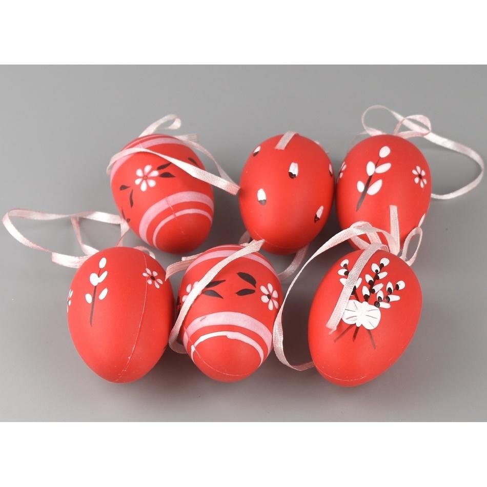 Sada ručně malovaných vajíček s mašlí červená, 6 ks