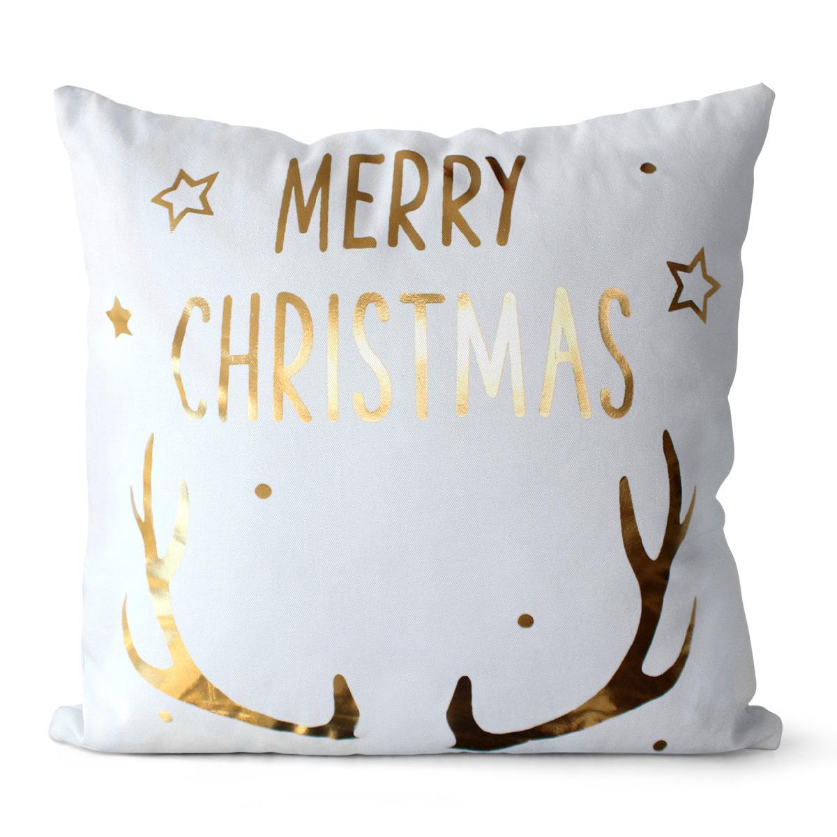 Domarex Vianočný vankúšik Merry Christmas biela, 45 x 45 cm