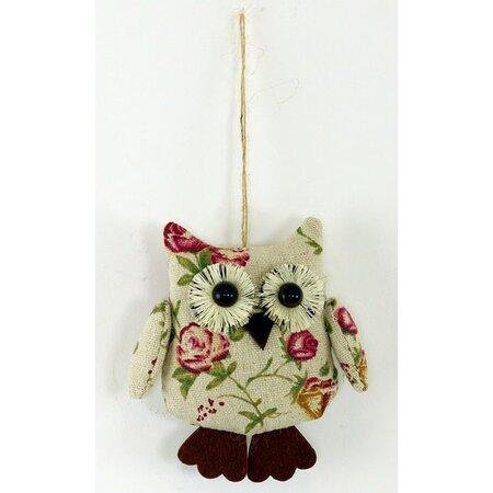 Závěsná dekorace Květinová sova, 10 cm