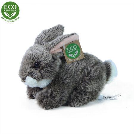Rappa Plyšový ležící králík tmavě šedá, 17 cm