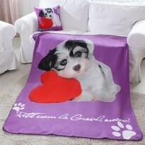 Pătură Domarex Puppy Love Dog, 130 x 160 cm, violet