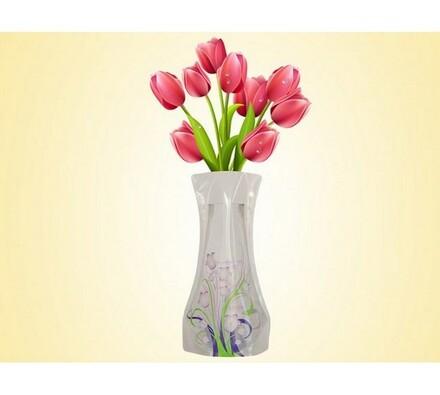Váza skladací bílá, bílá, 19 x 28 cm