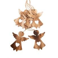 Sada vianočných drevených ozdôb Anjel natur, 6 ks