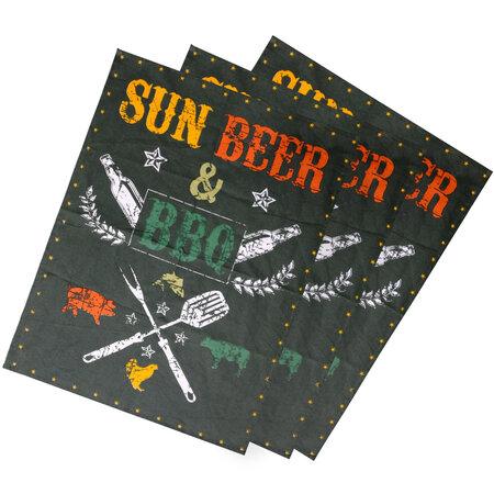 Utěrka Sun, beer & BBQ, 50 x 70 cm, sada 3 ks