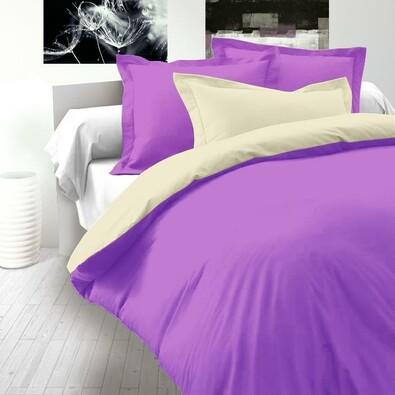 Saténové povlečení Luxury Collection smetanová / tmavě fialová, 140 x 220 cm, 70 x 90 cm
