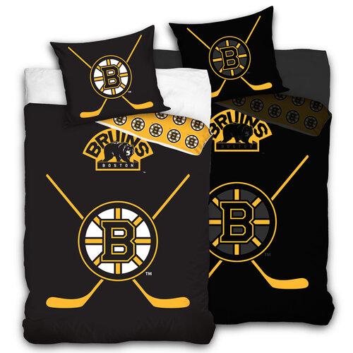 Lenjerie de pat luminoasă NHL Boston Bruins, din bumbac, 140 x 200 cm, 70 x 90 cm