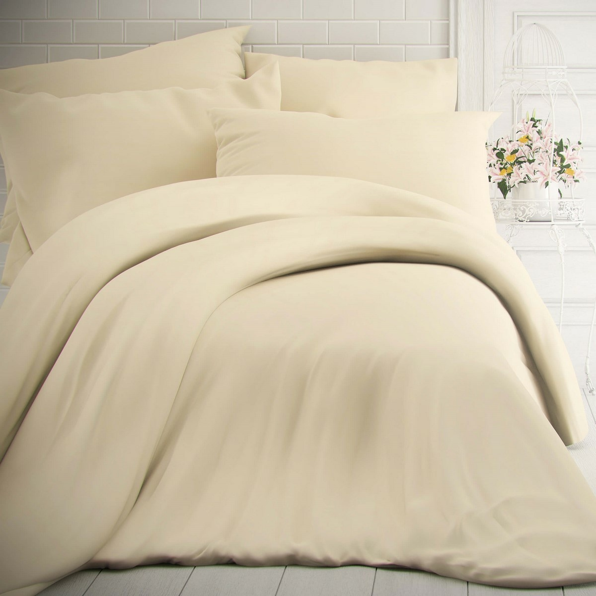 Kvalitex Bavlnené obliečky smotanová, 140 x 200 cm, 70 x 90 cm