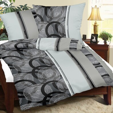 Krepové povlečení Spirály šedá, 140 x 200 cm, 70 x 90 cm