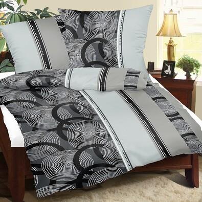 Krepové povlečení Spirály šedá, 220 x 200 cm, 2 ks 50 x 70 cm