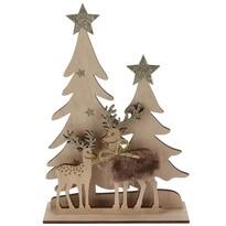 Vianočná drevená dekorácia Jelene pod vianočnými stromčekmi hnedá, 15,5 x 3,5 x 21 cm