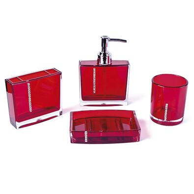 Sada červených koupelnových doplňků