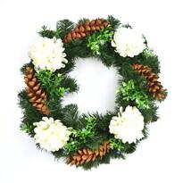 Dušičkový veniec s bielymi chryzantémami, 35 cm