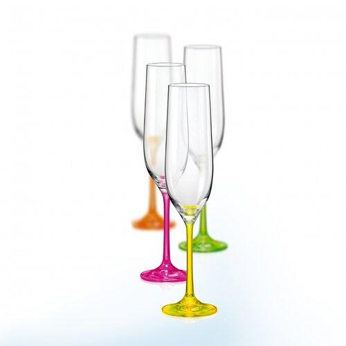 Crystalex 4-dielna sada pohárov na šampanské neON, 190 ml