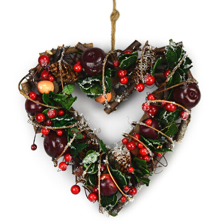Dekoracja jesienna rattanowa serce Automne czerwona, 24 cm