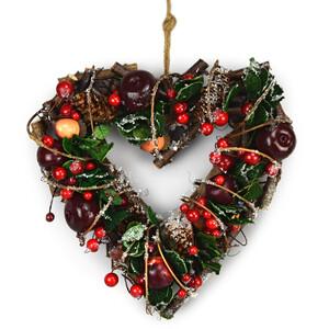 Podzimní ratanová dekorace srdce Automne červená