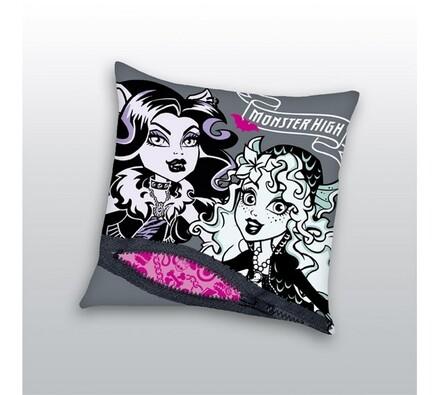 Polštář Monster High, 40 x 40 cm, bílá + šedá, 40 x 40 cm