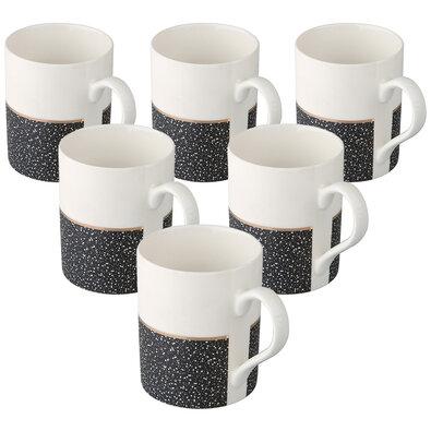 Altom 6-dielna sada porcelánových hrnčekov Granit 340 ml, čierna