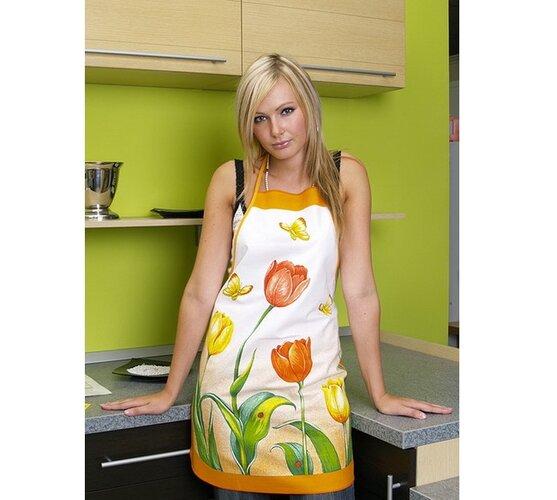Kuchynská zástera s tulipány, zelená