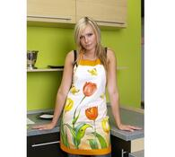 Kuchyňská zástěra s tulipány, žlutá