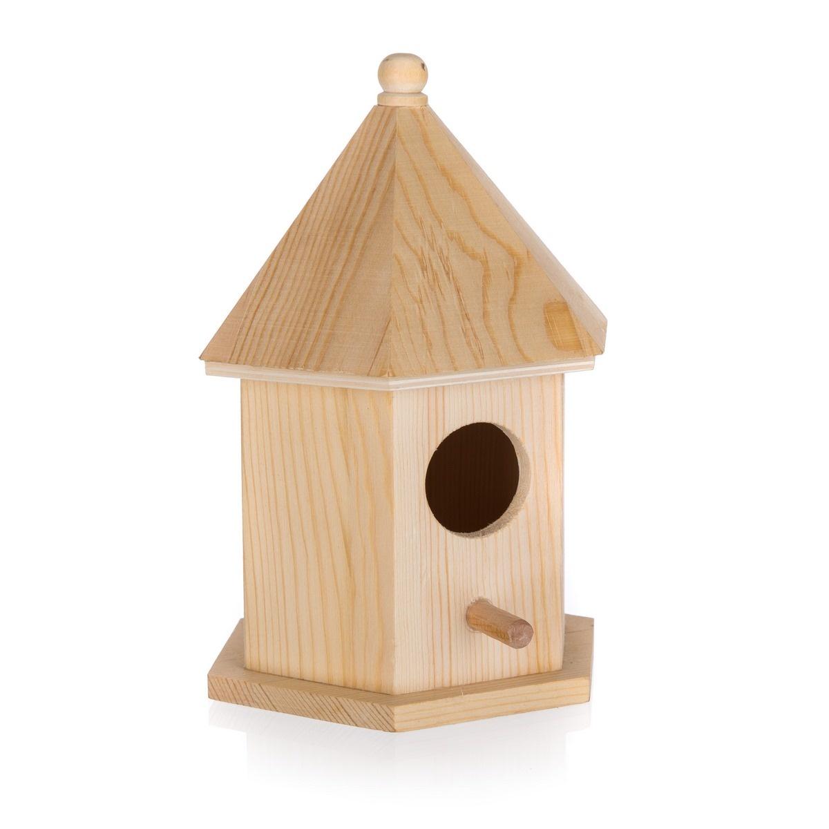Dřevěná ptačí budka, 12,5 x 10,5 x 17,7 cm