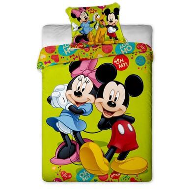 Dětské bavlněné povlečení Mickey a Minnie green, 140 x 200 cm, 70 x 90 cm