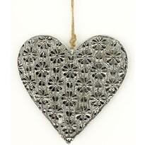 Závěsná kovová dekorace Floral heart, 14 cm