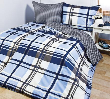 Bavlněné povlečení Kostka modrá, 140 x 200 cm, 70 x 90 cm