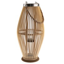 Bambusový lampáš so sklom Delgada, 29 x 59 cm, prírodný