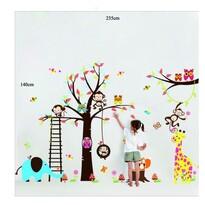 Naklejka dekoracyjna Bajkowe drzewo sowy, małpki,żyrafa