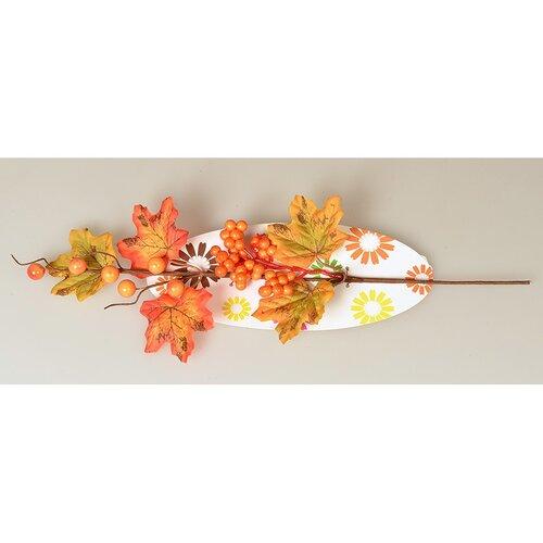 Podzimní větvička s bobulemi a pěti listy, 40 cm