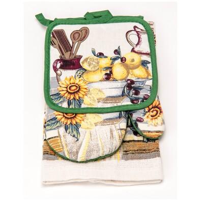 Kuchynská súprava Olaf zelená, 3 kusy