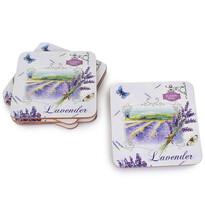 Korková podložka pod šálek Lavender bílá, 10 x 10 cm, sada 6 ks
