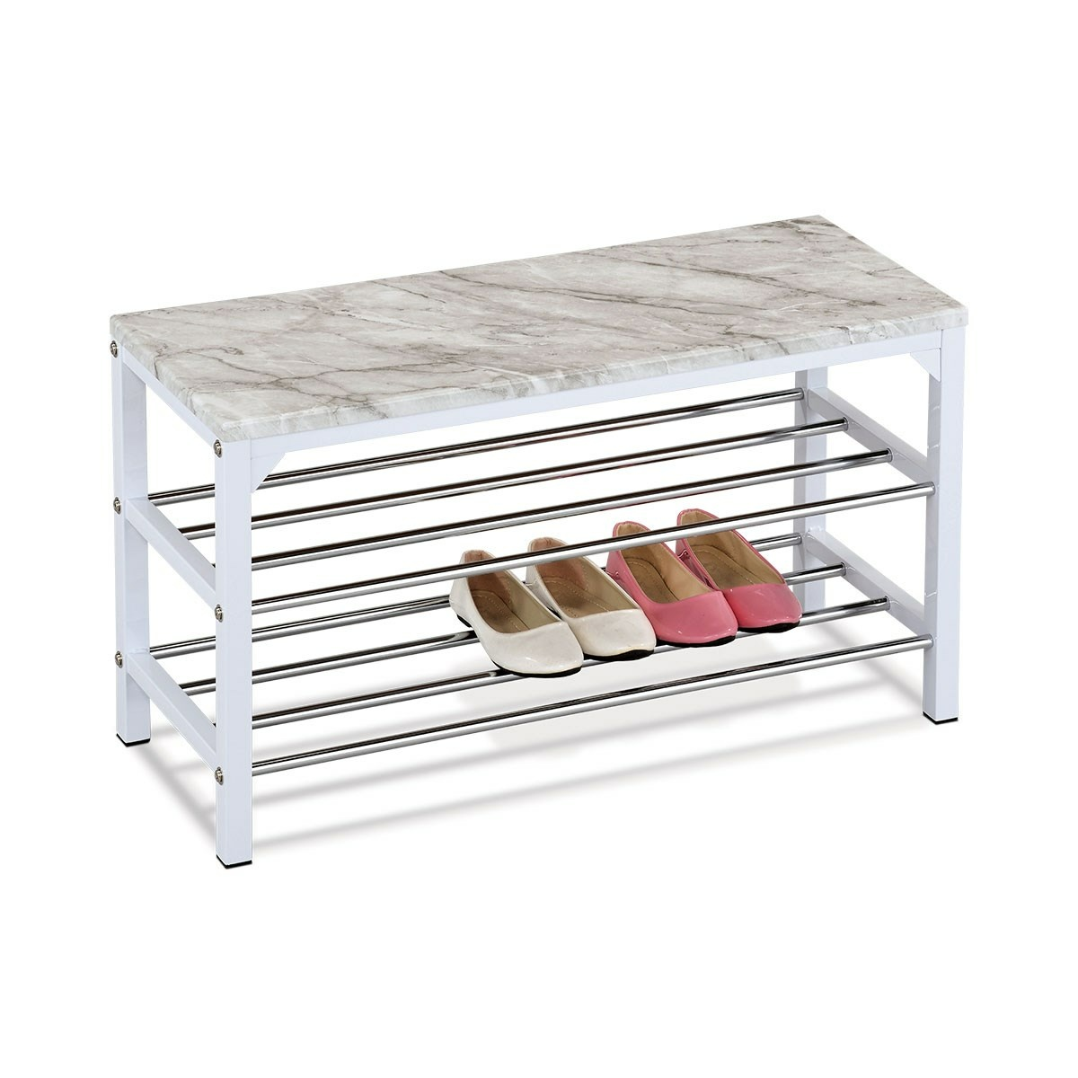 Botník/taburet 2 patra Grey marble, 77 x 29 x 42 cm