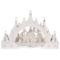 Vianočný LED svietnik Zimná krajina, koledníci pred kostolom