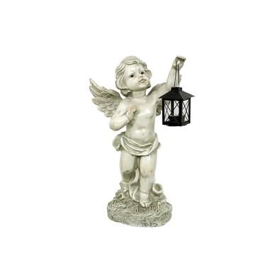 Záhradná dekorácia Anjel s lampášom, sivá