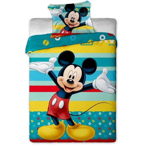 Dětské bavlněné povlečení Mickey tyrkys, 140 x 200 cm, 70 x 90 cm