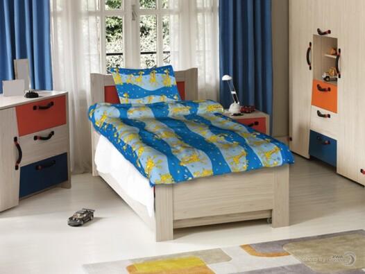 Dětské povlečení Žirafa, 140 x 200 cm, 70 x 90 cm, modrá, 140 x 200 cm, 70 x 90 cm