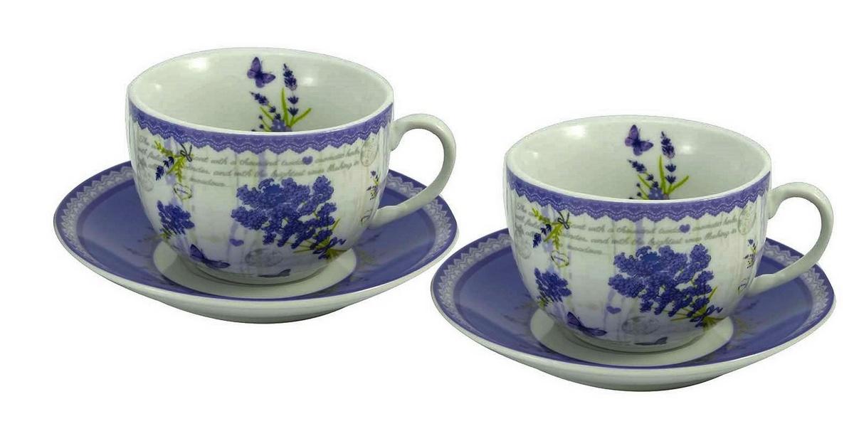 Dárková sada šálku na kávu s podšálkem Levandule 250 ml, 2 ks