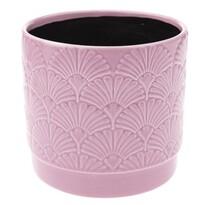 Keramický obal na květináč Shells, růžová, 13,5 x 12,5 x 12 cm