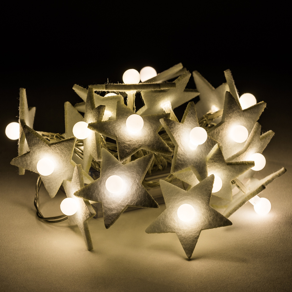 Dekorační světelný řetěz Hvězda s perlou, 20 LED