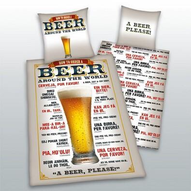 Bavlněné povlečení Beer, 140 x 200 cm, 70 x 90 cm