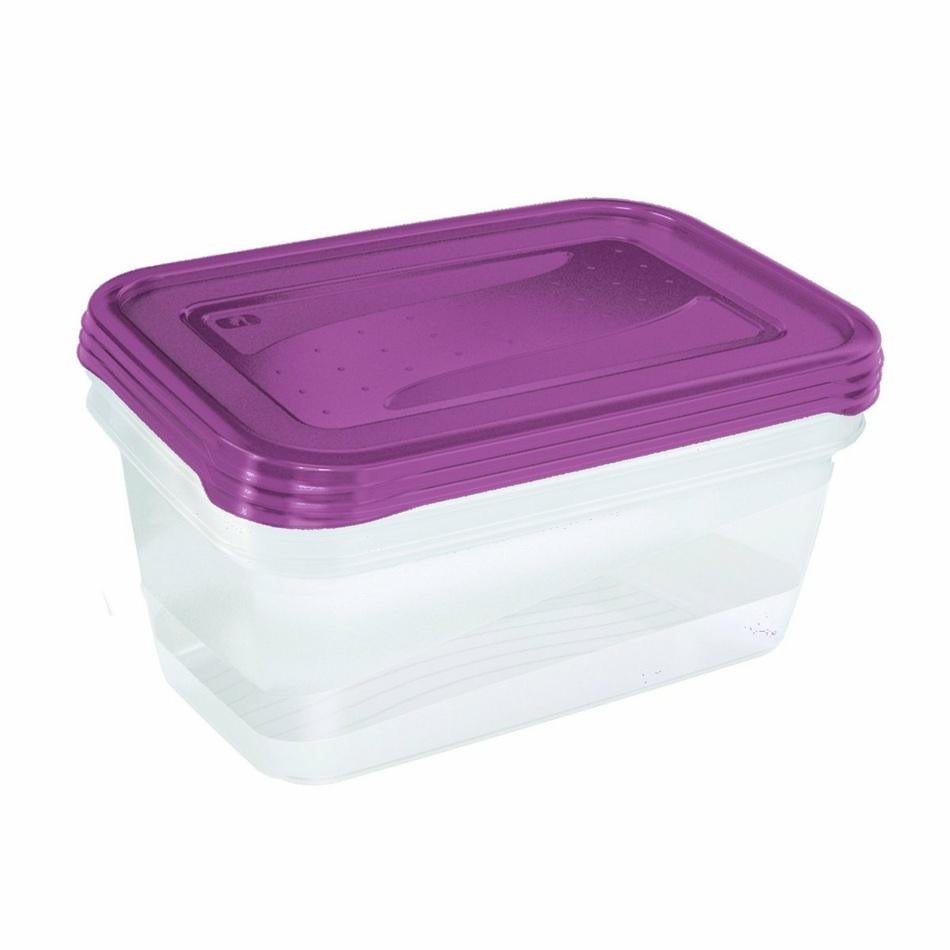 Keeeper Set dóz na potraviny vhodné do mrazničky Fredo Fresh, fialová 3x1,25L