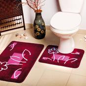 Koupelnová předložka Borneo červená, sada 2 ks, 50 x 80 cm + 50 x 40 cm