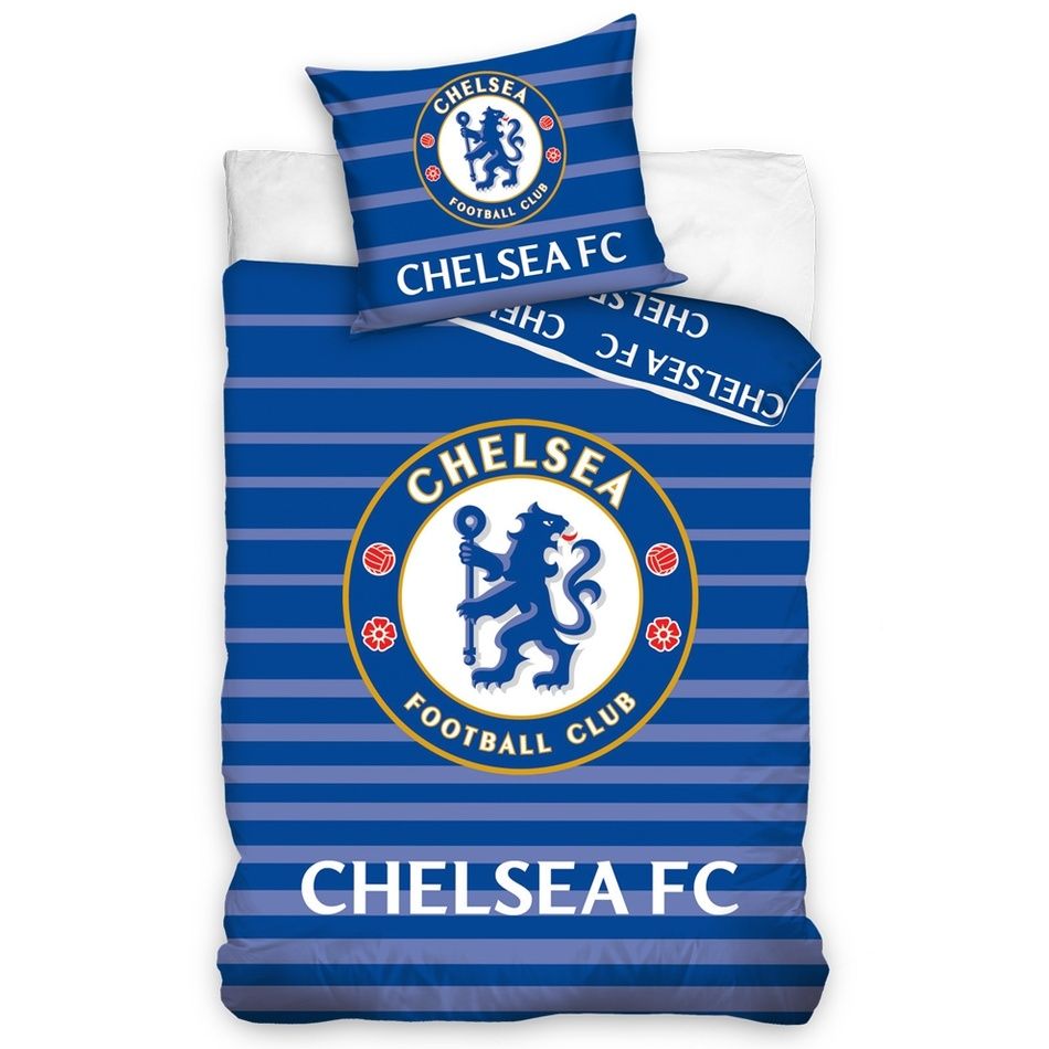 TipTrade Bavlněné povlečení FC Chelsea Stripes, 140 x 200 cm, 70 x 90 cm